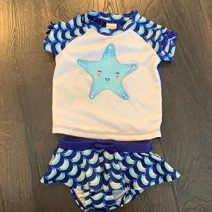 Gymboree Baby Girl Starfish RashGuard Swimsuit